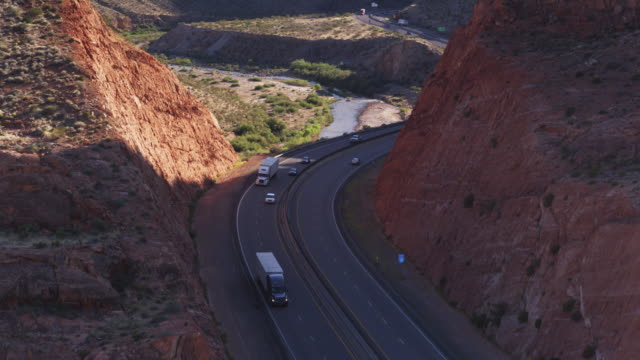 Trucks on I-5 in Virgin River Gorge, Arizona - Drone Shot