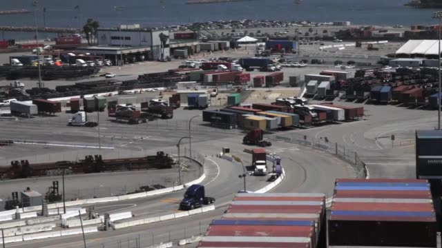 Trucks shot at the Port of Long Beach from on top of a container crane