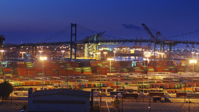 Trucks Working at Night in the Port of Los Angeles - Drone Shot