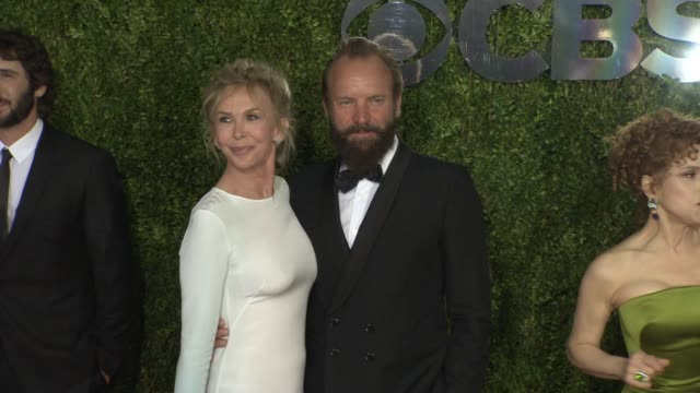 trudie styler and sting at 2015 tony awards - arrivals at radio city music hall on june 07, 2015 in new york city. - trudie styler stock videos & royalty-free footage