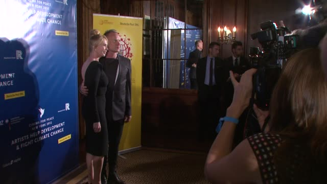 trudie styler and sting at cinema for peace new york 2012 gala honoring sting, trudie styler & the rainforest fund with 'green oscar' at the harvard... - trudie styler stock-videos und b-roll-filmmaterial
