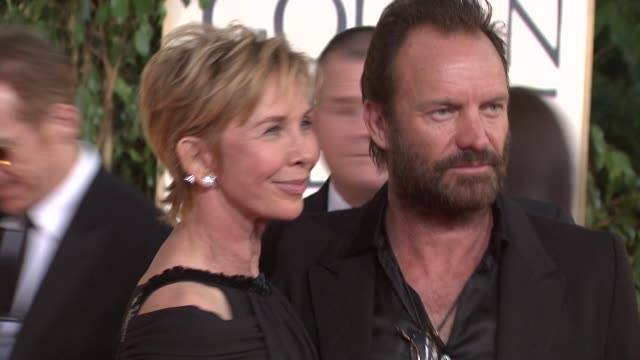 trudie styler and sting at the 66th annual golden globe awards arrivals part 5 at los angeles ca. - trudie styler stock-videos und b-roll-filmmaterial
