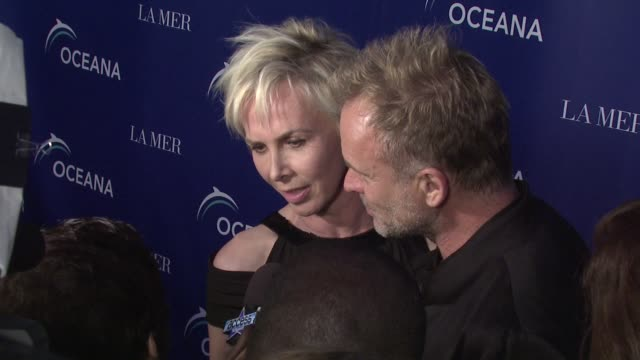 trudie styler and sting at the oceana's annual partners award gala honoring former president bill cli at los angeles ca - oceana stock videos & royalty-free footage