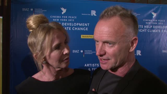 trudie styler and sting on being honored tonight with the green oscar, on what it means to them. on receiving three million dollars for their... - trudie styler stock videos & royalty-free footage