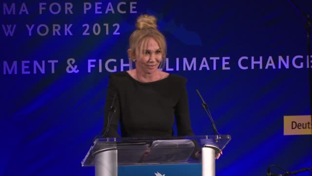 trudie styler on being honored tonight with the green oscar, on our relationship with the earth at cinema for peace new york 2012 gala honoring... - trudie styler stock-videos und b-roll-filmmaterial