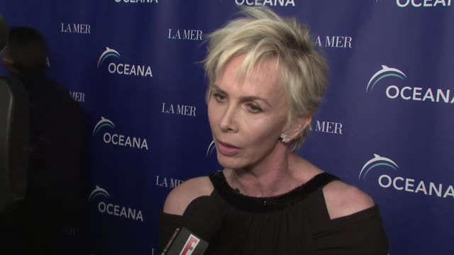 trudie styler on the event on how star struck she is seeing bill clinton at the oceana's annual partners award gala honoring former president bill... - oceana stock videos & royalty-free footage