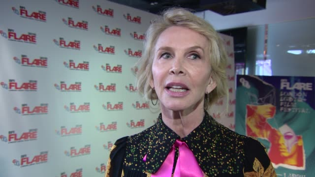 interview trudie styler on the plot of 'freak show' at 'freak show' screening at bfi southbank on march 28 2018 in london england - proiezione evento pubblicitario video stock e b–roll