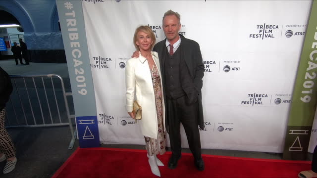 """trudie styler & sting at the """"this is spinal tap"""" 35th anniversary - 2019 tribeca film festival at beacon theatre on april 27, 2019 in new york city. - trudie styler stock videos & royalty-free footage"""