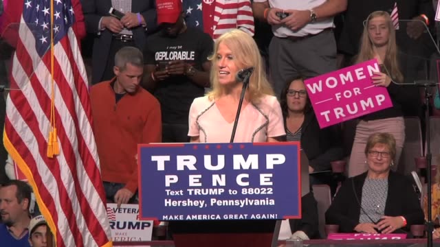 Trump campaign manager Kellyanne Conway talks briefly to a press gaggle about reports of the polls in Pennsylvania On the podium Conway told the...