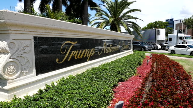 a trump national doral sign is seen at the golf resort owned by us president donald trump's company on august 27 2019 in doral florida president... - doral stock videos and b-roll footage