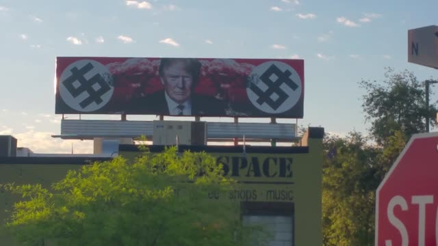 trump nazi billboard on 11th ave and grand ave - nazism stock videos & royalty-free footage