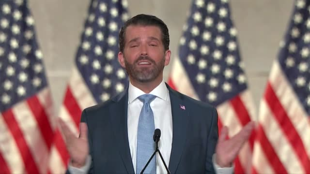 trump organization vice president donald trump jr says in remarks to the 2020 republican national convention that all men and women are created equal... - 米国大統領選挙点の映像素材/bロール