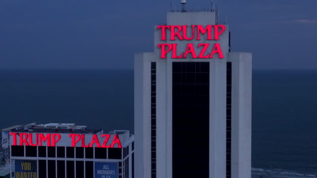 Trump Plaza and other hotels and casinos line the beach in Atlantic City.