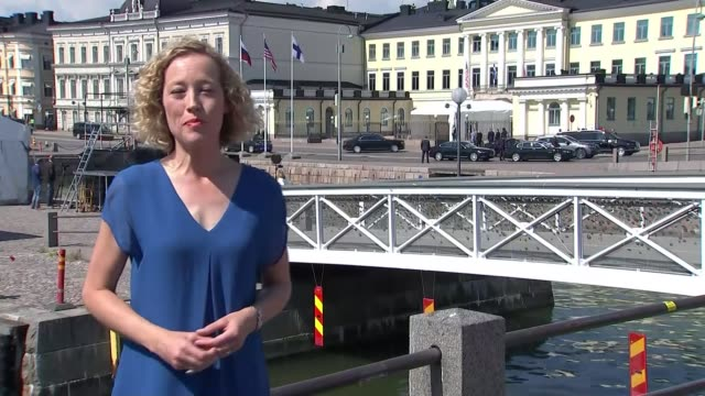 Trump criticises US security services in extraordinary press conference FINLAND Helsinki EXT Reporter to camera SOT
