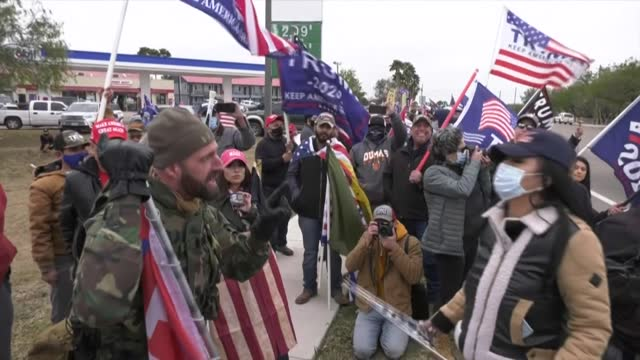 trump supporters and counter-protesters supporting president-elect joe biden get into heated arguments and shouting matches in mcallen, texas - mcallen texas stock videos & royalty-free footage