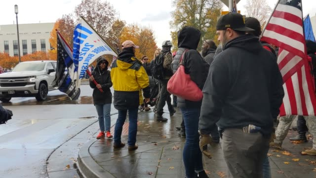 "trump supporters clash with the opposing side during ""stop the steal""protests on november 7, 2020 in salem, oregon. angry supporters of president... - oregon state capitol stock videos & royalty-free footage"