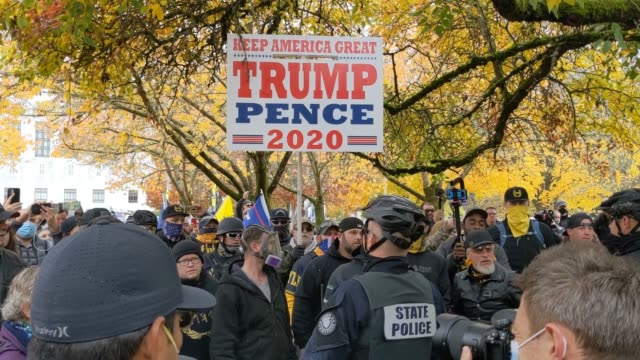 """trump supporters clash with the opposing side during """"stop the steal"""" protests on november 7, 2020 in salem, oregon. angry supporters of president... - salem oregon stock videos & royalty-free footage"""