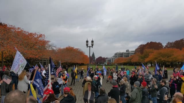"trump supporters clash with the opposing side during ""stop the steal"" protests on november 7, 2020 in salem, oregon. angry supporters of president... - oregon state capitol stock videos & royalty-free footage"