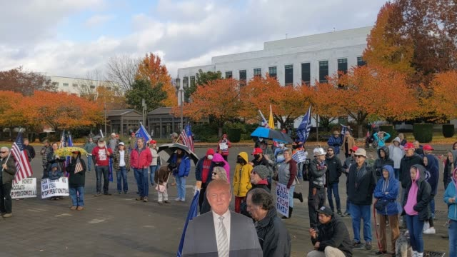 "trump supporters listen to a speaker during ""stop the steal"" protests on november 7, 2020 in salem, oregon. angry supporters of president trump took... - oregon state capitol stock videos & royalty-free footage"