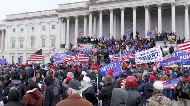 """trump supporters outside the u.s. capitol hill building for the """"million maga march - stop the steal"""" rally contesting the certification of the 2020... - capitol hill stock videos & royalty-free footage"""