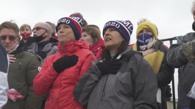 trump supporters recite the pledge of allegiance as the rally begins on november 1, 2020 at the michigan stars sports center in washington, michigan.... - pledge of allegiance stock videos & royalty-free footage