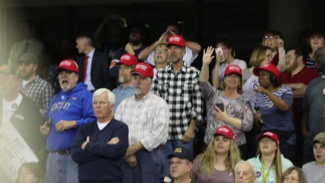 trump supporters yell at media on risers blocking their view during donald trump's presidential campaign style rally for 15,000 of his supporters who... - censorship stock videos & royalty-free footage