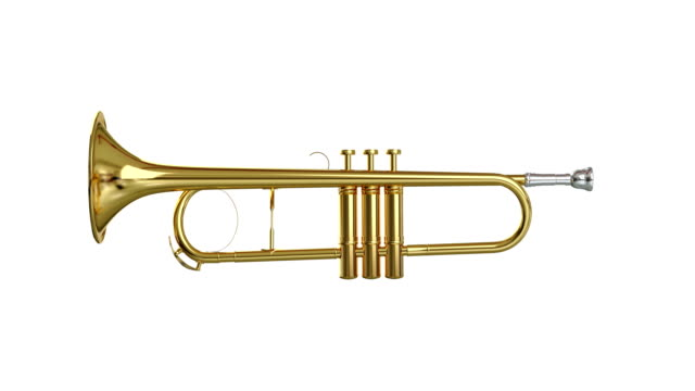 trumpet spin isolated with luma matte loopable. - jazz video stock e b–roll