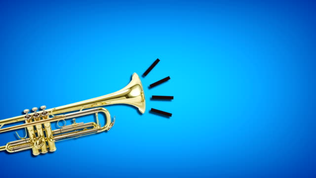 trumpet video animation on blue background. attention,news,opening. - leadership illustration stock videos & royalty-free footage