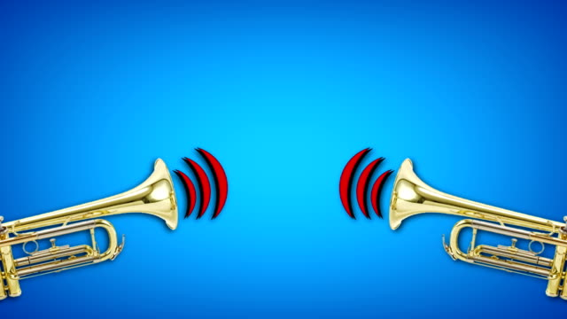 trumpet video animation on blue background. Attention,news,opening.