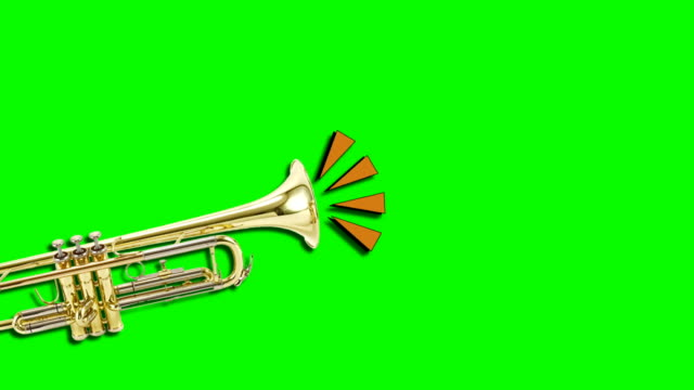 trumpet video animation on green background. attention,news,opening. - leadership illustration stock videos & royalty-free footage
