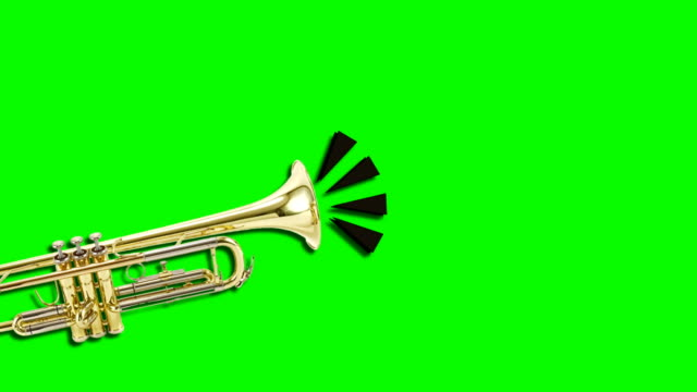 trumpet video animation on green background. attention,news,opening. - trumpet stock videos and b-roll footage