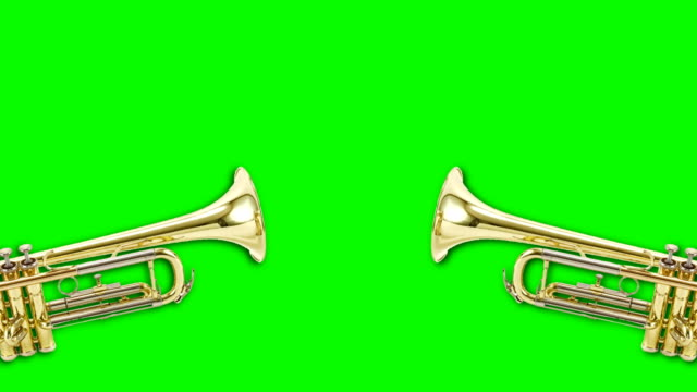 trumpet video animation on green background. attention,news,opening. - announcement message stock videos & royalty-free footage