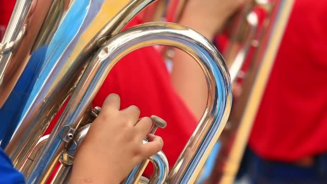 Trumpetare på en blåsorkester