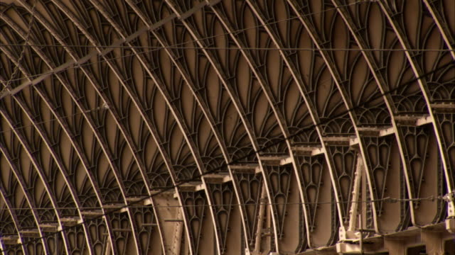 Trusses support the structure of London Paddington railway station. Available in HD.