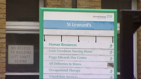 trusts admit to losing computer discs containing patients' details; hackney: sign outside st leonard's hospital, hackney london: dawn primarolo mp... - ディスク点の映像素材/bロール