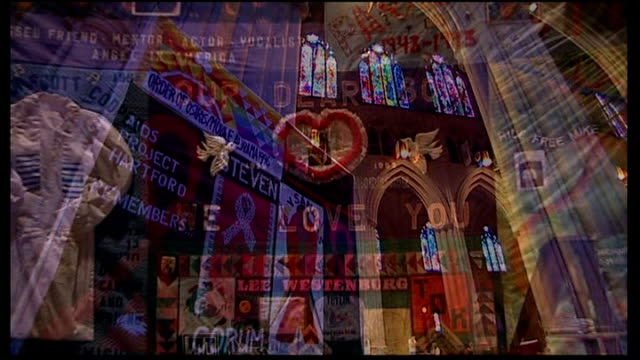 Truvada pill to prevent HIV approved for use in America Low angle view 'AIDS project remembers Steven Corum' quilt hanging in church AIDS...