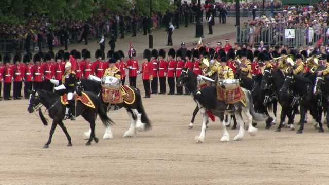 MS ts Shot of Queen's Birthday Parade with horse gurads in Trooping Colour at Whitelhall AUDIO / London, United Kingdom