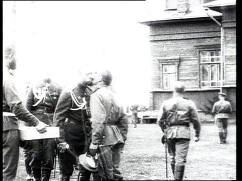 tsar nicholas ii congratulating and kissing on cheeks lowranking officers at easte soldiers posing for photograph with tsar nicholas ii russian... - 1916 stock videos & royalty-free footage
