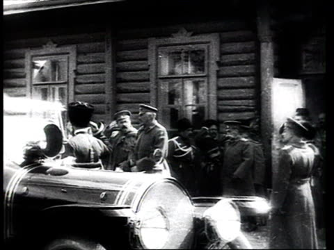 tsar nicholas ii leaving his headquarters at baranovichi in a car, grand duke nicholas nicholaevich following in second vehicle, officers saluting /... - 1914 stock videos & royalty-free footage