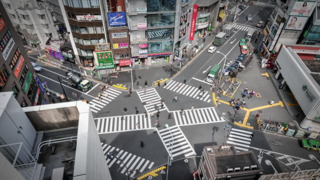 MS T/LA HA Shot over busy intersection and pedestrian crossing in Yoyogi / Tokyo, Japan