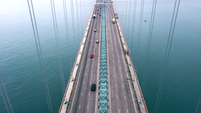 tsing ma bridge in foggy day, hong kong - vanishing point stock videos & royalty-free footage