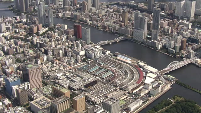 aerial, tsukiji fish market, tokyo - tokyo bay stock videos and b-roll footage