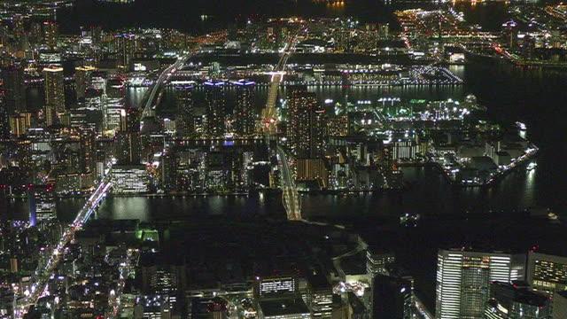 aerial, tsukiji market and toyosu market, tokyo, japan - tokyo bay stock videos & royalty-free footage