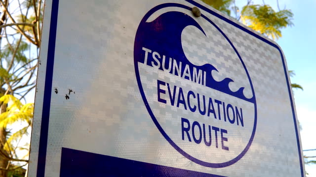 tsunami hazard zone evacuation warning sign - warning sign stock videos & royalty-free footage