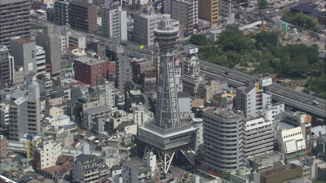 aerial, tsutenkaku tower and surroundings - distant点の映像素材/bロール