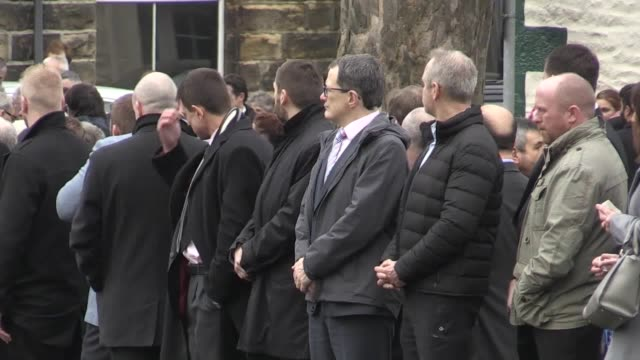 tthe funeral of jodie willsher, who was stabbed to death at the aldi store in skipton where she worked. ruth harris, vicar of christ church in... - スキップトン点の映像素材/bロール