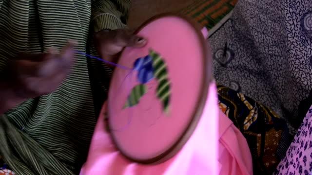 Tuareg woman making embroidery Niger Agadez