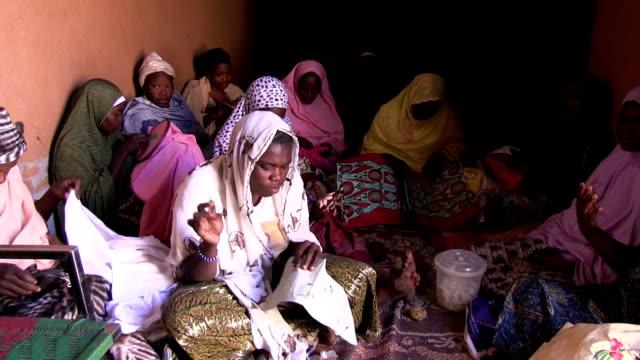 Tuareg women making embroidery Niger Agadez