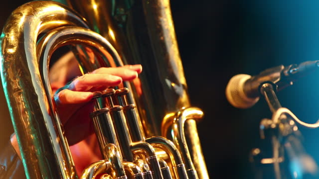cu tuba player on stage - brass instrument stock videos & royalty-free footage
