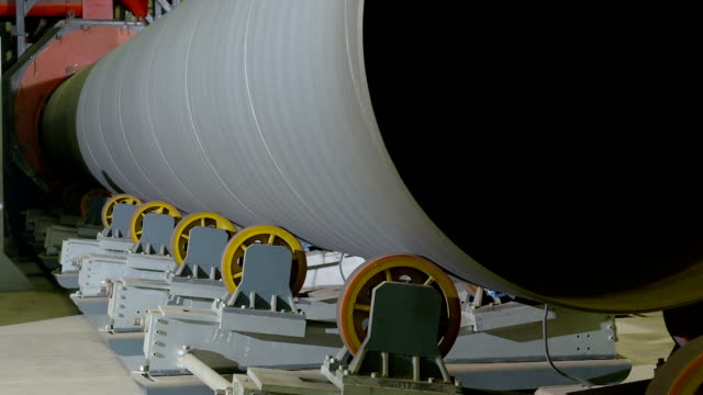 tube rolling plant for production of large pipes - tube stock videos & royalty-free footage